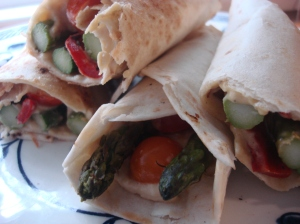 Ready to roll: Hummus, Roasted Asparagus and Tomato Wraps!