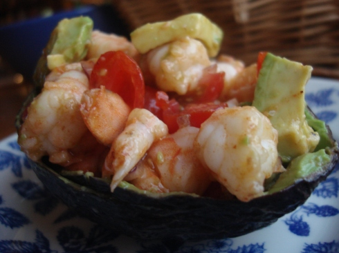 Shrimp and Avocado Salad, Spiked with Chipotle (charming served in an avocado shell)