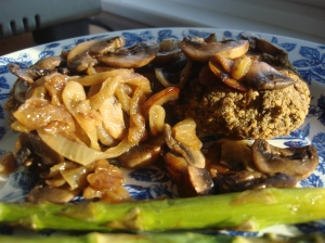 Dairy-free sauteed onions and mushrooms - perfect with black bean burgers!