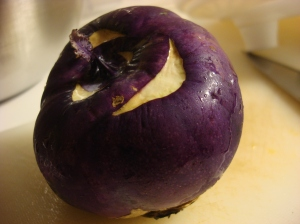 Purple kohlrabi -- this is the root. They also come in green. The leaves are edible, but I didn't have those.