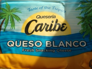 This is an example of the Caribbean white cheese in this recipe. It is similar to packaged (not fresh) mozzarella in texture and is easily cut into squares.