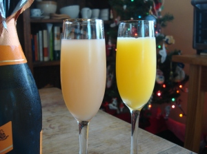 Prosecco mimosas - pink grapefruit and orange juice