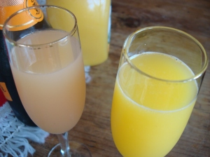Prosecco mimosas are the appropriate accompaniment