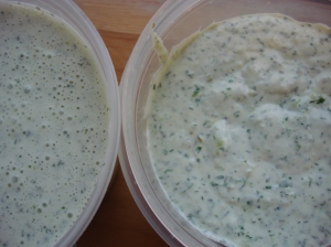 Left, Green Goddess dressing; right, dip