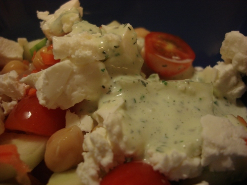 Green Goddess Dressing with Garden Salad and Feta