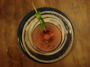 Set in the center of a sugar swirl: Cranberry Rum-Tini