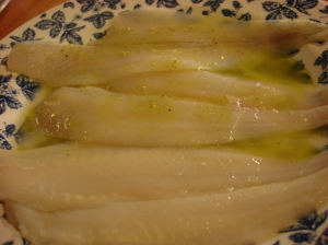 Swimming in oil and lemon! Easy marinade. that honors the delicate fish