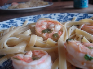 We went with fettucine for the scampi, because we like fettucine.