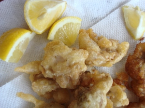 Fantastically crisp beer battered oysters