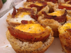 This was Leandro's favorite...next to the cookies...nestled eggs with bacon
