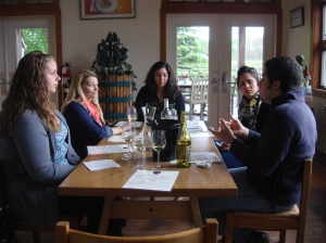 Morning meeting: winemaker Kareem Massoud briefs the tasting room staff on all things wine
