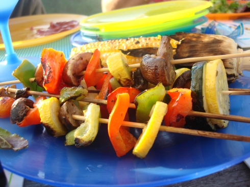 Delicious and colorful...these veggie kebabs look fancy, but they are simplicity itself