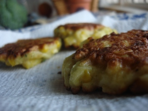 Corn fritters with zucchini and onion