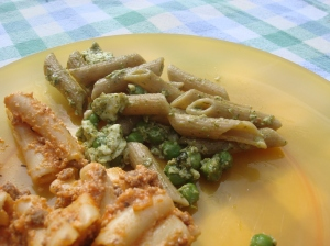Adding peas and queso fresco made this into a formidable pasta dish for summer!