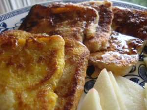 The sliced apples were a big hit with the French toast, dipped judiciously in the maple syrup and cinnamon.