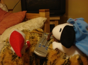Date Night with Snoopy. I found them asleep in front of the T.V. in the morning. He had the remote. Of course.