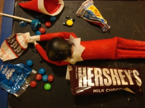 Sugar rush indeed....The pressure of constant travel and a duplicitous lifestyle gets to the elf and she self-medicates