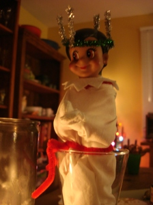 She must have been inspired by my niece who was the Lucia this year in her community's celebration of this Swedish tradition