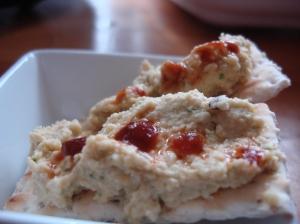 On crackers, with sriracha