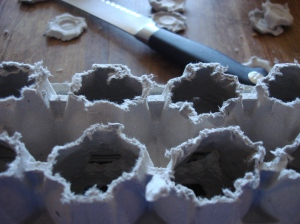 Taking the bottoms off the egg carton made for a perfect egg dryer