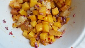 A combination of over-ripe and not-quite ripe peaches and nectarines make for a terrific salsa