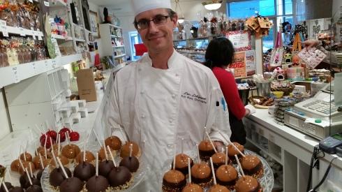 Chef and chief chocolatier Eric Lobignat with caramel apples!