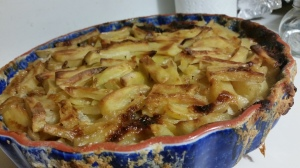 I made it in a pretty pie dish that went straight from oven to table nicely